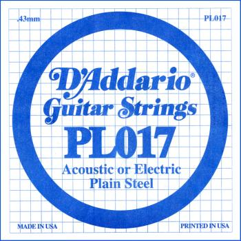 D'Addario PL017 Plain Steel Guitar Single String, .017