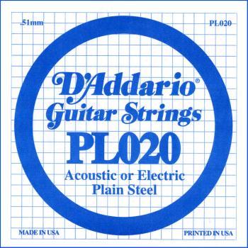 D'Addario PL020 Plain Steel Guitar Single String, .020