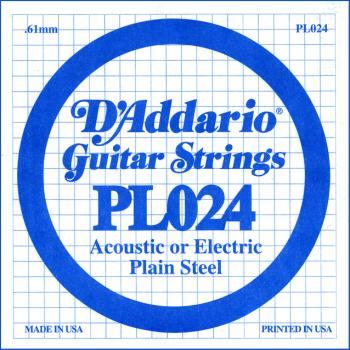 D'addario .024 Plain Steel Guitar String