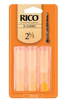 RCA0325 Rico by D'Addario Bb Clarinet Reeds, Strength 2.5, 3-pack