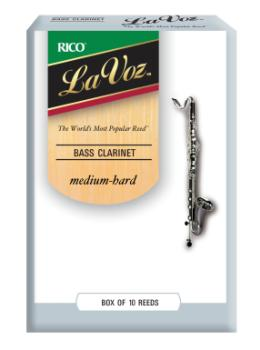 LaVoz Bass Clarinet Reeds Medium Hard Strength Box of 10