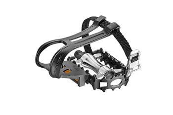 """Giant G230000065 GNT Domain Pedal w/ Clips & Straps 9/16"""" Axle Silver/Black"""