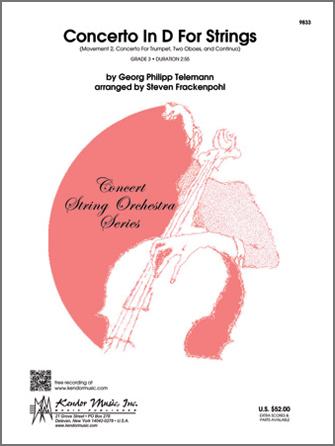 Kendor Telemann G           Frackenpohl S  Concerto In D For Strings - String Orchestra