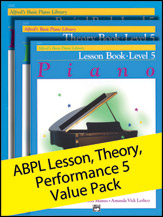 Alfred's Basic Piano Library Lesson, Theory, Recital 5 (Value Pack) [Piano]