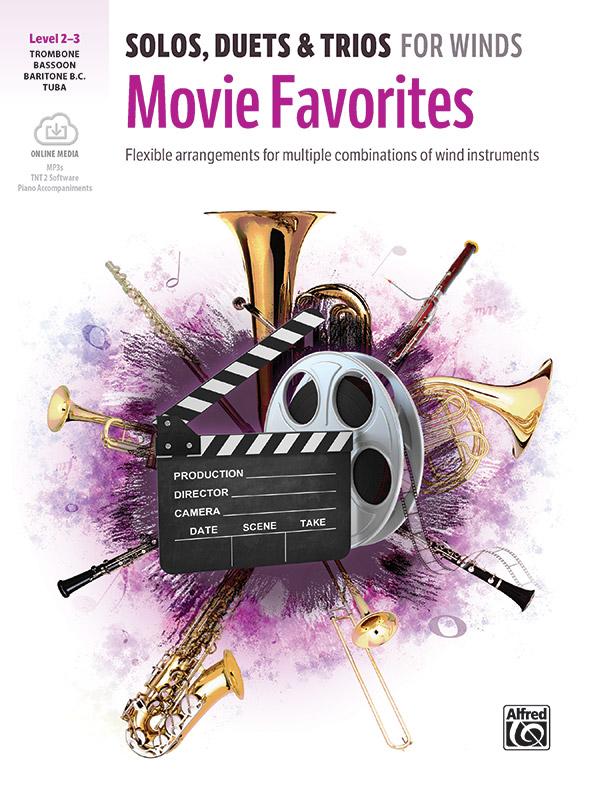 Movie Favorites Solos Duets & Trios w/online audio [trombone/bassoon/bari bc/tuba] Bass Clef