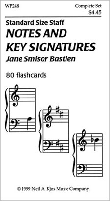 NOTES AND KEY SIGNATURES-80 FLASHCARDS BASTIEN TC