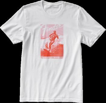 9123013110 Fender® Jaguar® Surf T-Shirt, White and Red, XXL