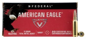 Federal AE224VLK1 American Eagle 224 Valkyrie 75 Grain Total Metal Jacket 20 Round Box