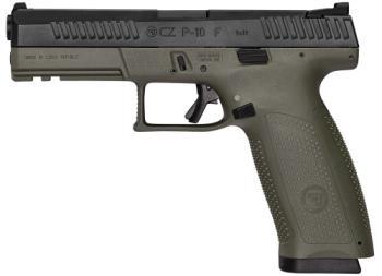 """CZ-USA 91545 P-10 Full Size 9mm Luger 4.50"""" 19+1 Black Nitride Slide OD Green Polyme"""
