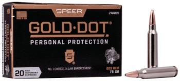 Federal 24469 Gold Dot  223 Rem 75 gr Speer Gold Dot 20 Bx/ 10 Cs