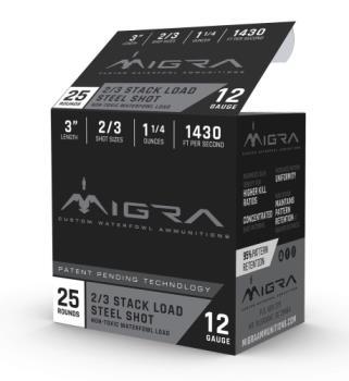 """MIGRA AMMUNITION M12S23 Combinational  12 Gauge 3"""" 1 1/4 oz 2,3 Shot 25 Bx/ 10 C"""