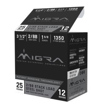 "MIGRA AMMUNITION M12LS2BB Combinational  12 Gauge 3.50"" 1 5/8 oz 2,BB Shot 25 Bx"