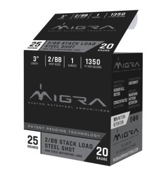 "MIGRA AMMUNITION M20S2BB Combinational  20 Gauge 3"" 1 oz 2,BB Shot 25 Bx/ 10 Cs"