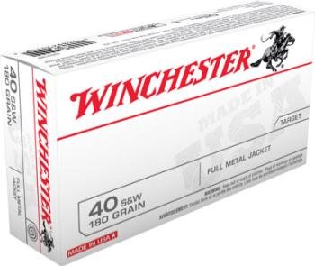 Winchester Q4238 USA  40 S&W 180 gr Full Metal Jacket (FMJ) 50 Bx/ 10 Cs