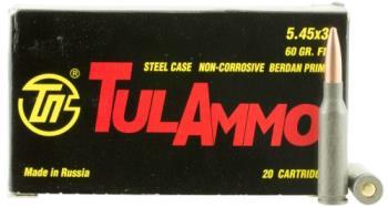 TA545390 Tulammo Rifle 5.45x39mm 60 gr Full Metal Jacket (FMJ) 20 Bx/50 Cs