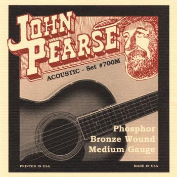 John Pearse 700M Phosphor Bronze Acoustic Guitar String Set, Medium