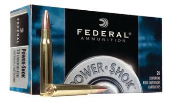 3006B Federal Power Shok 30-06 180 Grain Jacketed Soft Point 20 Round Box