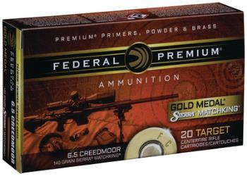 GM65CRD1 Federal Premium Gold Medal Match 6.5 Creedmoor 130 Grain Sierra Match King 20 Round Box
