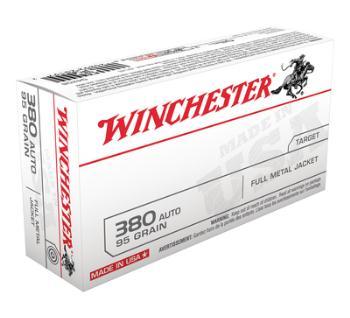 Winchester USA380VP USA Brand .380 ACP 95 Grain Full Metal Jacket 100 Per Box